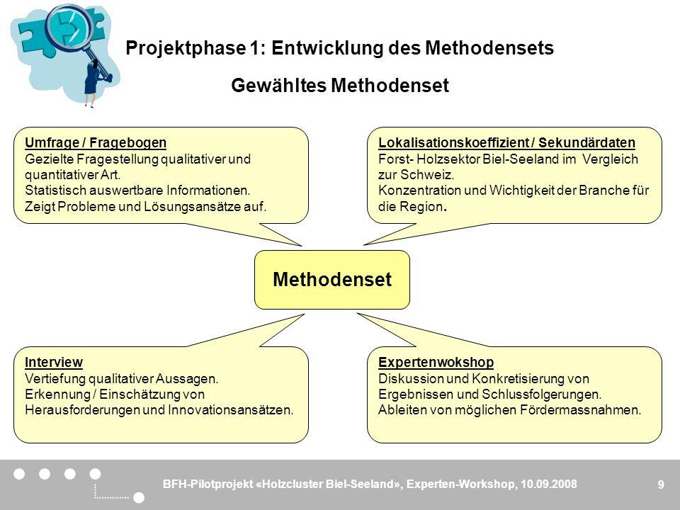 BFH-Pilotprojekt «Holzcluster Biel-Seeland», Experten-Workshop, 10.09.2008 9 Gewähltes Methodenset Methodenset Lokalisationskoeffizient / Sekundärdate