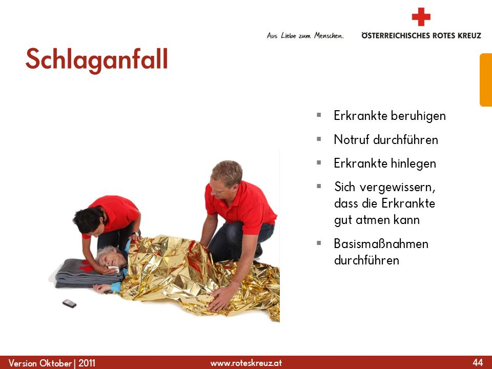 www.roteskreuz.at Version Oktober | 2011 Schlaganfall 44  Erkrankte beruhigen  Notruf durchführen  Erkrankte hinlegen  Sich vergewissern, dass die Erkrankte gut atmen kann  Basismaßnahmen durchführen