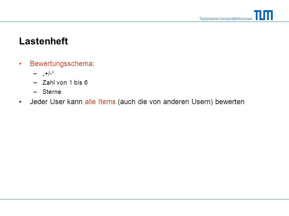 """Technische Universität München Lastenheft Bewertungsschema: –""""+/- –Zahl von 1 bis 6 –Sterne Jeder User kann alle Items (auch die von anderen Usern) bewerten"""