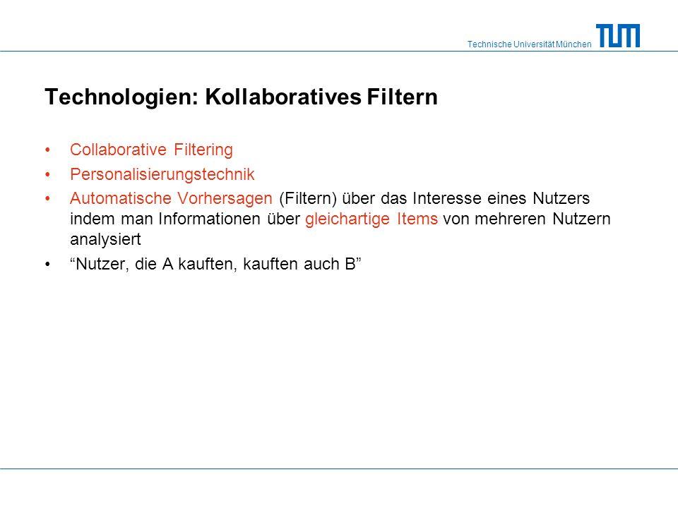 Technische Universität München Technologien: Kollaboratives Filtern Collaborative Filtering Personalisierungstechnik Automatische Vorhersagen (Filtern) über das Interesse eines Nutzers indem man Informationen über gleichartige Items von mehreren Nutzern analysiert Nutzer, die A kauften, kauften auch B