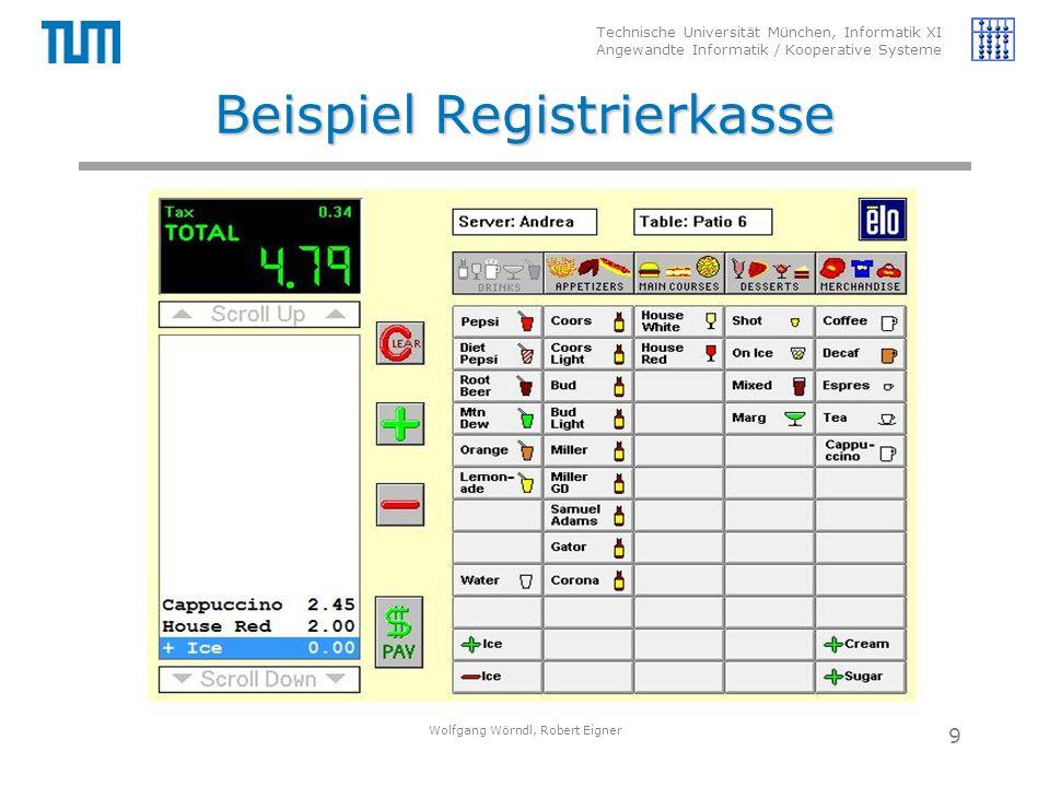 Technische Universität München, Informatik XI Angewandte Informatik / Kooperative Systeme Beispiel Registrierkasse Wolfgang Wörndl, Robert Eigner 9