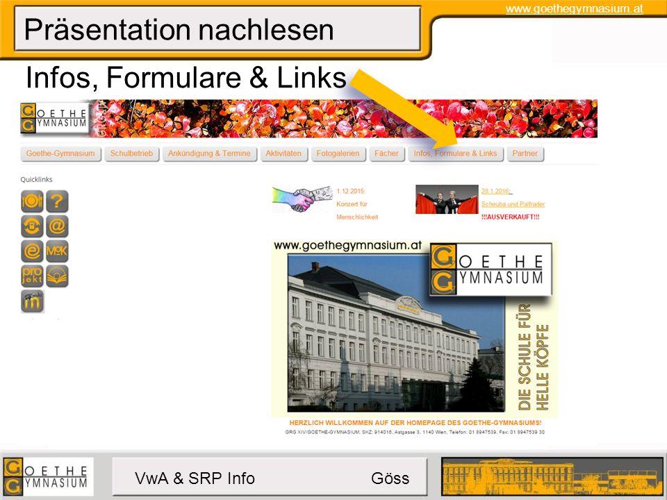 www.goethegymnasium.at VwA & SRP Info Göss Präsentation nachlesen Vwa & SRP