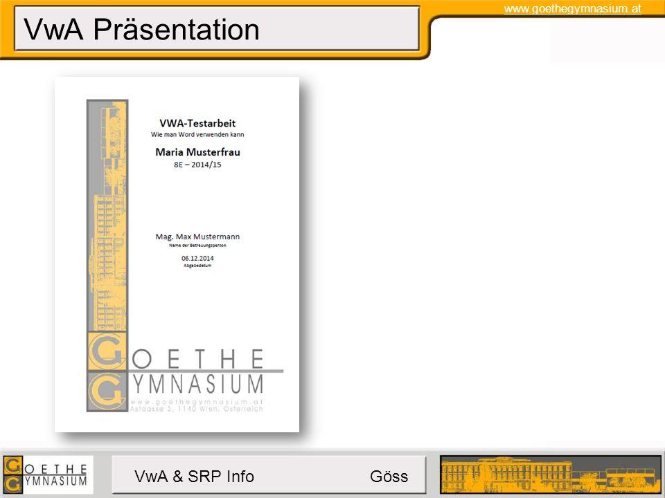 www.goethegymnasium.at VwA & SRP Info Göss Klausurtermine Mo.9.