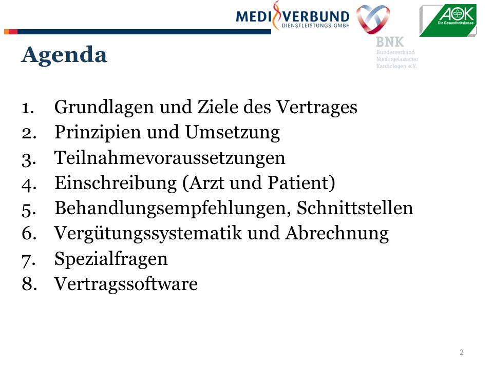 2 Agenda 1.Grundlagen und Ziele des Vertrages 2.Prinzipien und Umsetzung 3.Teilnahmevoraussetzungen 4.Einschreibung (Arzt und Patient) 5.Behandlungsempfehlungen, Schnittstellen 6.Vergütungssystematik und Abrechnung 7.Spezialfragen 8.Vertragssoftware