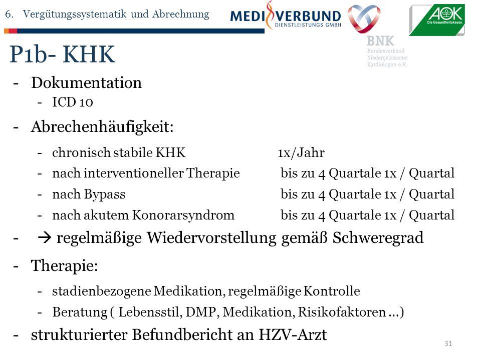 31 P1b- KHK -Dokumentation -ICD 10 -Abrechenhäufigkeit: -chronisch stabile KHK1x/Jahr -nach interventioneller Therapie bis zu 4 Quartale 1x / Quartal -nach Bypass bis zu 4 Quartale 1x / Quartal -nach akutem Konorarsyndrom bis zu 4 Quartale 1x / Quartal -  regelmäßige Wiedervorstellung gemäß Schweregrad -Therapie: -stadienbezogene Medikation, regelmäßige Kontrolle -Beratung ( Lebensstil, DMP, Medikation, Risikofaktoren …) -strukturierter Befundbericht an HZV-Arzt 6.Vergütungssystematik und Abrechnung