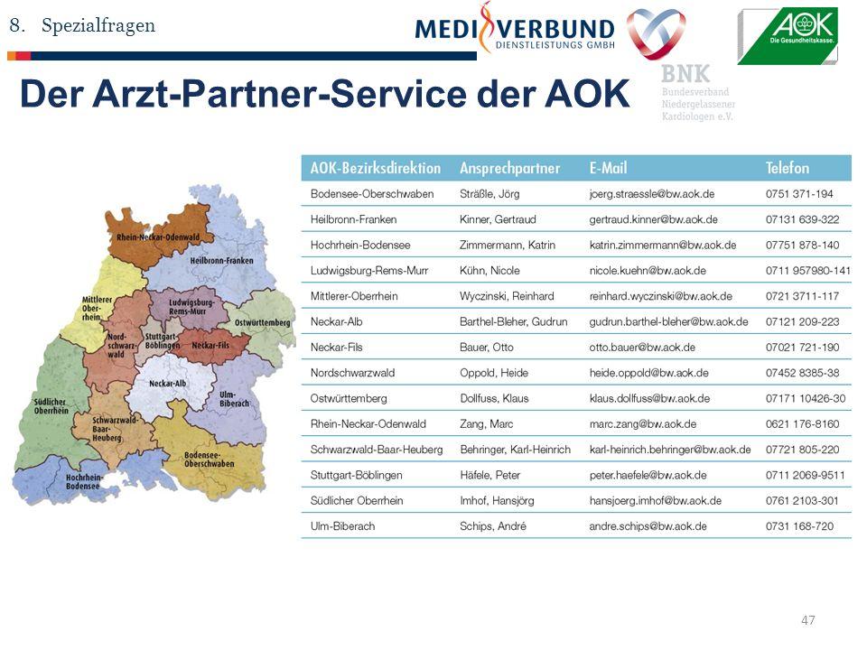 47 Der Arzt-Partner-Service der AOK 8.Spezialfragen