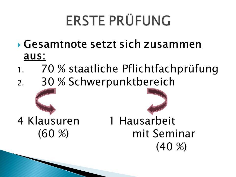  Gesamtnote setzt sich zusammen aus: 1. 70 % staatliche Pflichtfachprüfung 2.