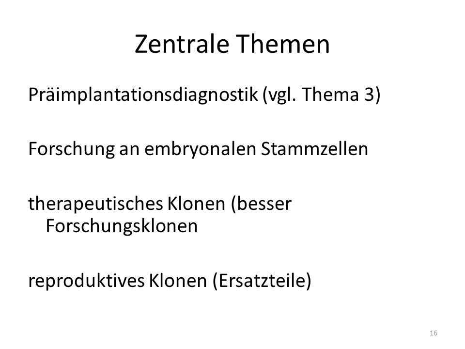 Zentrale Themen Präimplantationsdiagnostik (vgl.
