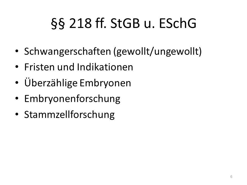§§ 218 ff. StGB u.