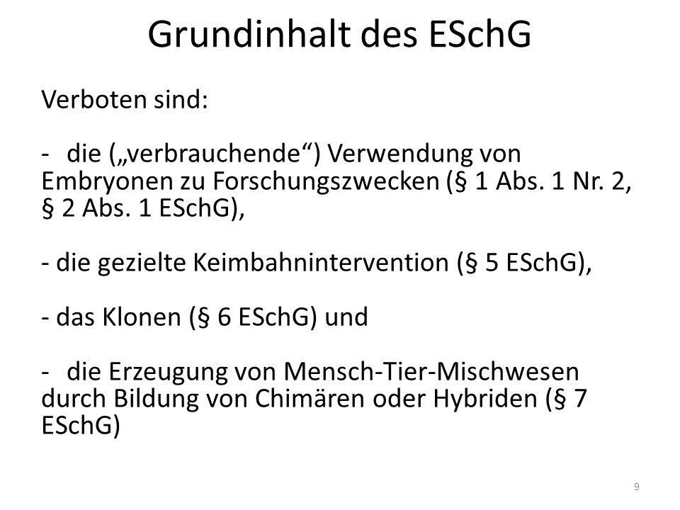 """Grundinhalt des ESchG Verboten sind: -die (""""verbrauchende ) Verwendung von Embryonen zu Forschungszwecken (§ 1 Abs."""