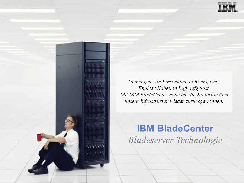 Aktualisiert am 12. Juli 2006 IBM BladeCenter Bladeserver-Technologie Unmengen von Einschüben in Racks, weg. Endlose Kabel, in Luft aufgelöst. Mit IBM