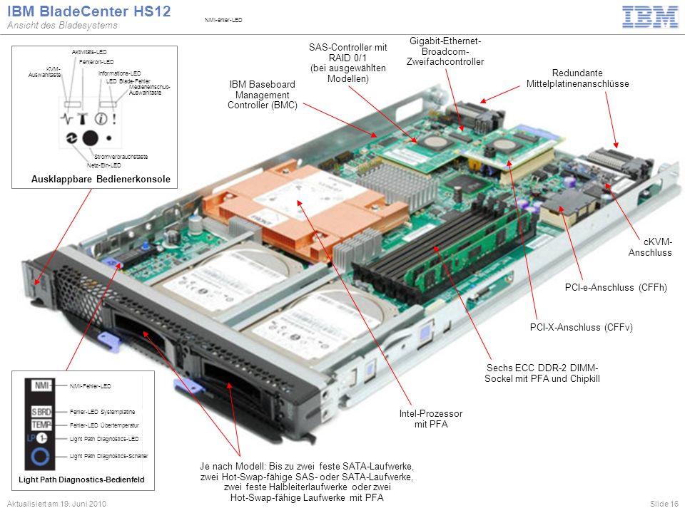 Slide 16 IBM BladeCenter HS12 Ansicht des Bladesystems Aktualisiert am 19. Juni 2010 Je nach Modell: Bis zu zwei feste SATA-Laufwerke, zwei Hot-Swap-f