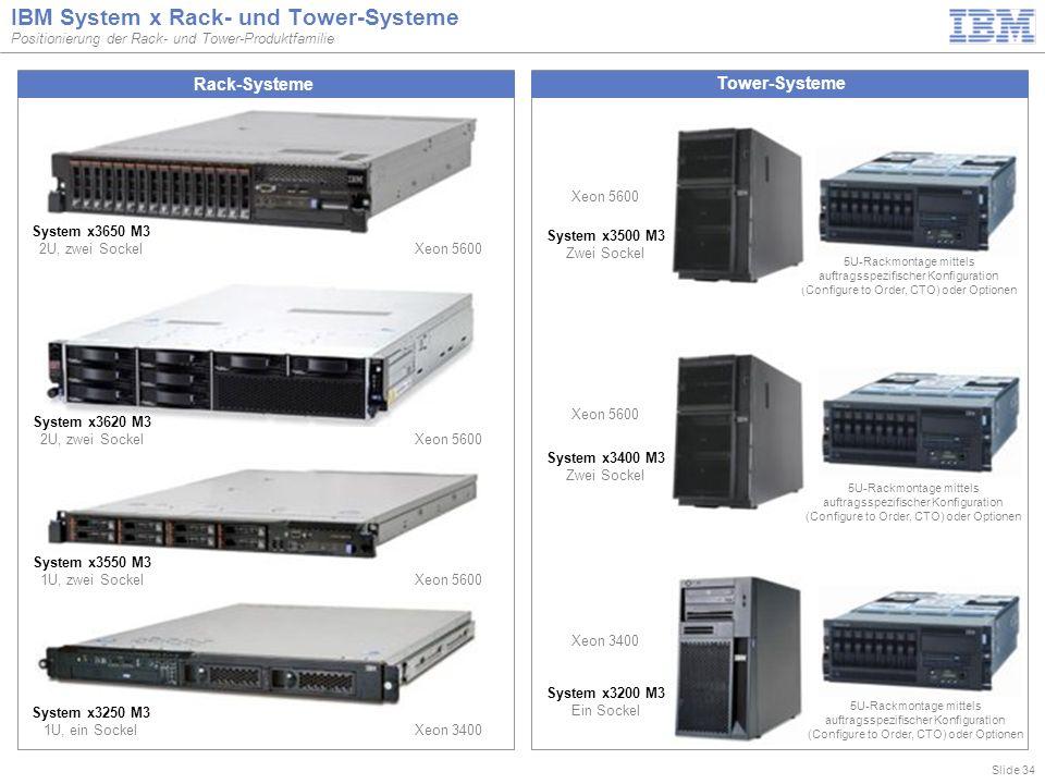 Slide 34 IBM System x Rack- und Tower-Systeme Positionierung der Rack- und Tower-Produktfamilie Tower-Systeme Rack-Systeme System x3200 M3 Ein Sockel System x3500 M3 Zwei Sockel System x3400 M3 Zwei Sockel System x3250 M3 1U, ein Sockel Xeon 3400 System x3650 M3 2U, zwei Sockel Xeon 5600 5U-Rackmontage mittels auftragsspezifischer Konfiguration (Configure to Order, CTO) oder Optionen Xeon 3400 Xeon 5600 5U-Rackmontage mittels auftragsspezifischer Konfiguration (Configure to Order, CTO) oder Optionen System x3620 M3 2U, zwei Sockel Xeon 5600 System x3550 M3 1U, zwei Sockel Xeon 5600