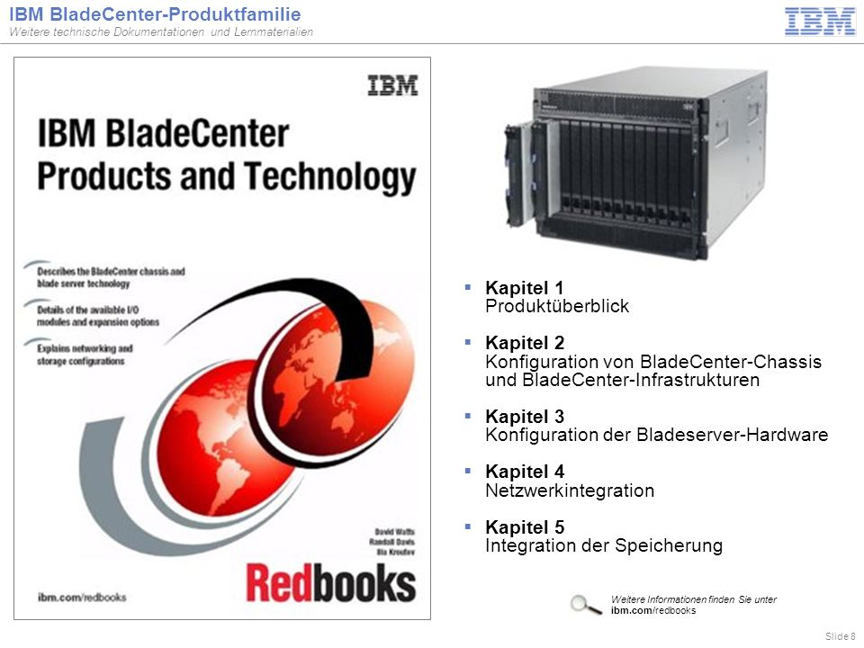 Slide 8 IBM BladeCenter-Produktfamilie Weitere technische Dokumentationen und Lernmaterialien  Kapitel 1 Produktüberblick  Kapitel 2 Konfiguration v