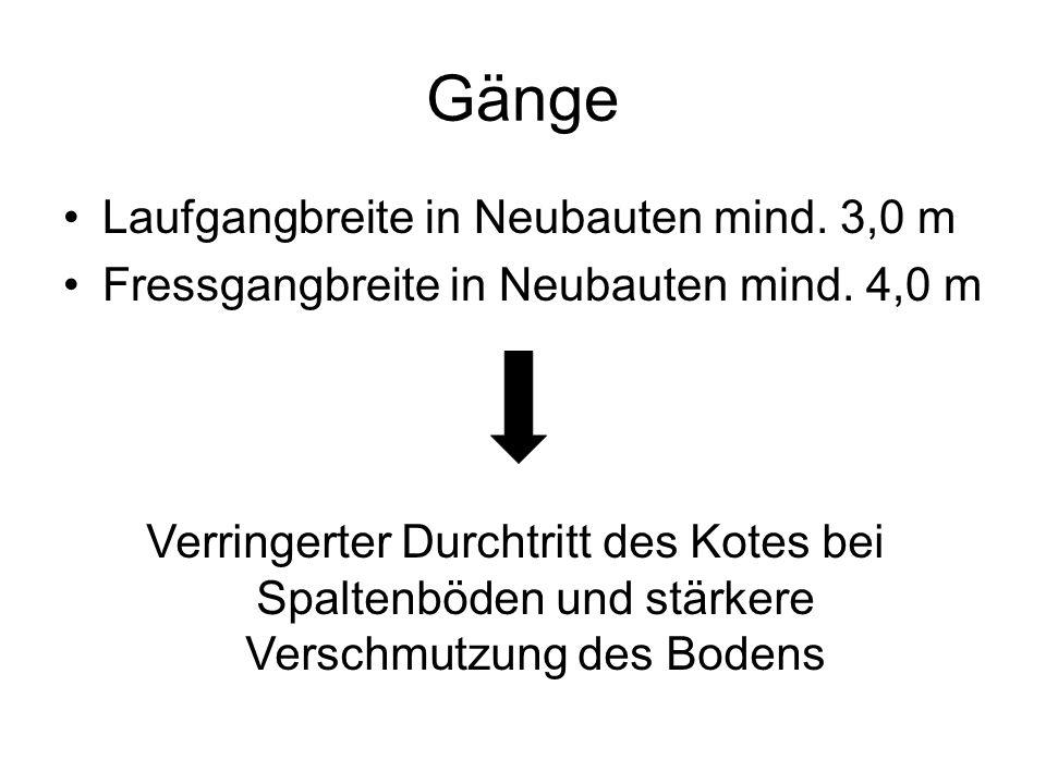 Gänge Laufgangbreite in Neubauten mind. 3,0 m Fressgangbreite in Neubauten mind.