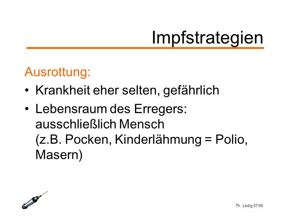 Th. Ledig 07/06 Impfstrategien Ausrottung: Krankheit eher selten, gefährlich Lebensraum des Erregers: ausschließlich Mensch (z.B. Pocken, Kinderlähmun
