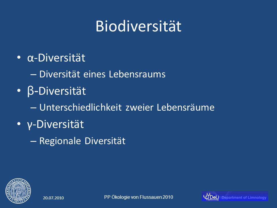 PP Ökologie von Flussauen 2010 20.07.2010 Biodiversität α-Diversität – Diversität eines Lebensraums β- Diversität – Unterschiedlichkeit zweier Lebensräume γ-Diversität – Regionale Diversität