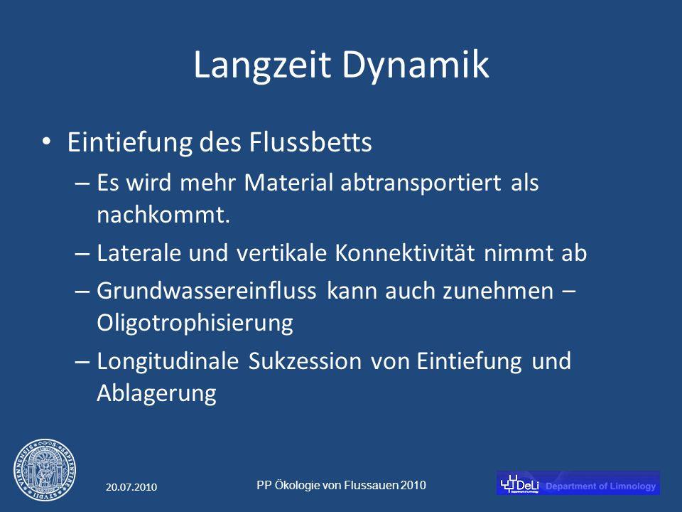 PP Ökologie von Flussauen 2010 20.07.2010 Langzeit Dynamik Eintiefung des Flussbetts – Es wird mehr Material abtransportiert als nachkommt.