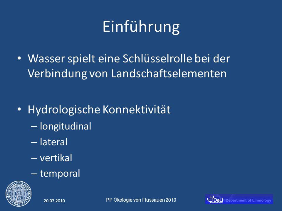 PP Ökologie von Flussauen 2010 20.07.2010 Einführung Wasser spielt eine Schlüsselrolle bei der Verbindung von Landschaftselementen Hydrologische Konnektivität – longitudinal – lateral – vertikal – temporal