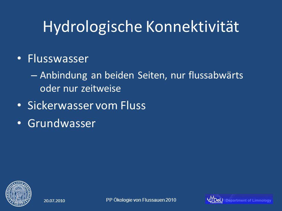 PP Ökologie von Flussauen 2010 20.07.2010 Hydrologische Konnektivität Flusswasser – Anbindung an beiden Seiten, nur flussabwärts oder nur zeitweise Sickerwasser vom Fluss Grundwasser