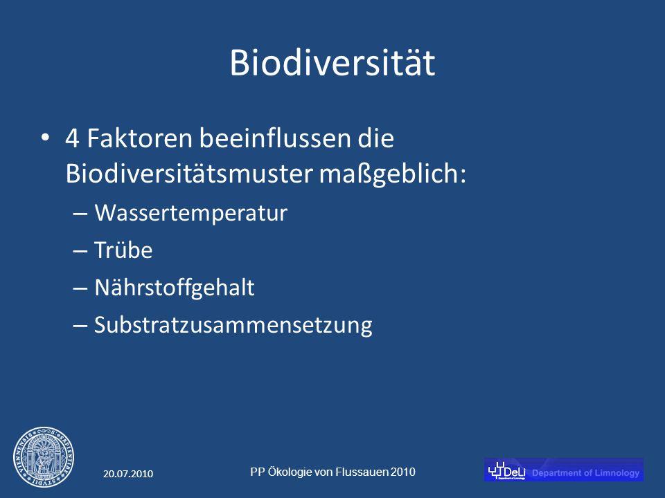 PP Ökologie von Flussauen 2010 20.07.2010 Biodiversität 4 Faktoren beeinflussen die Biodiversitätsmuster maßgeblich: – Wassertemperatur – Trübe – Nährstoffgehalt – Substratzusammensetzung