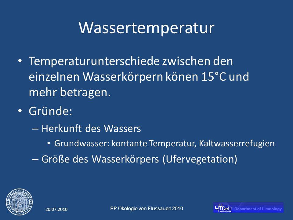 PP Ökologie von Flussauen 2010 20.07.2010 Wassertemperatur Temperaturunterschiede zwischen den einzelnen Wasserkörpern könen 15°C und mehr betragen.