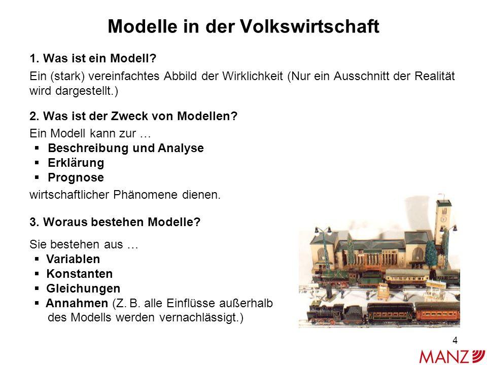 Modelle in der Volkswirtschaft 1. Was ist ein Modell? Ein (stark) vereinfachtes Abbild der Wirklichkeit (Nur ein Ausschnitt der Realität wird dargeste