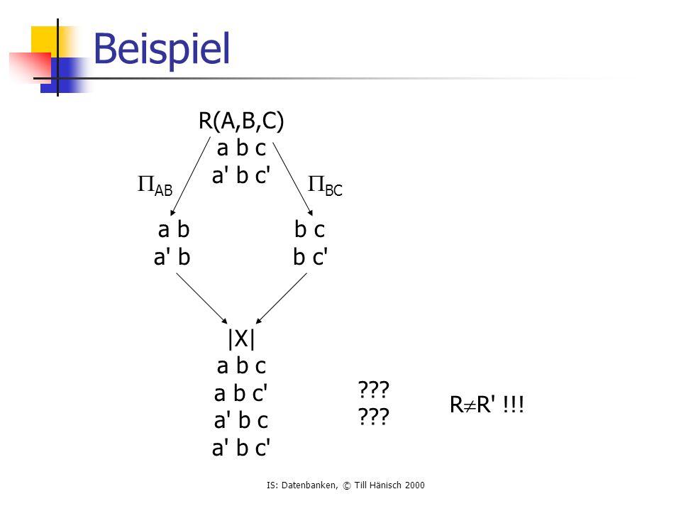 IS: Datenbanken, © Till Hänisch 2000 Beispiel R(A,B,C) a b c a b c a bb c a b b c |X| a b c a b c a b c a b c  AB  BC .