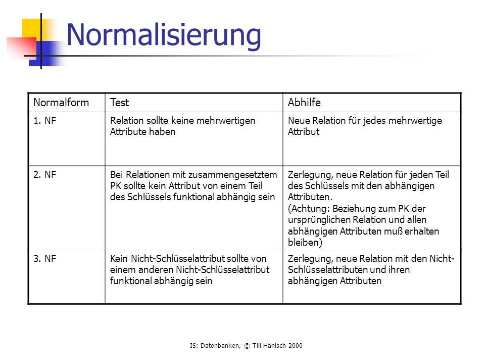 IS: Datenbanken, © Till Hänisch 2000 Normalisierung NormalformTestAbhilfe 1.