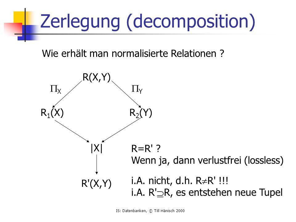 IS: Datenbanken, © Till Hänisch 2000 Beispiel R(A,B,C) a b c a b c a bb c a b b c |X| a b c a b c a b c a b c  AB  BC ??.