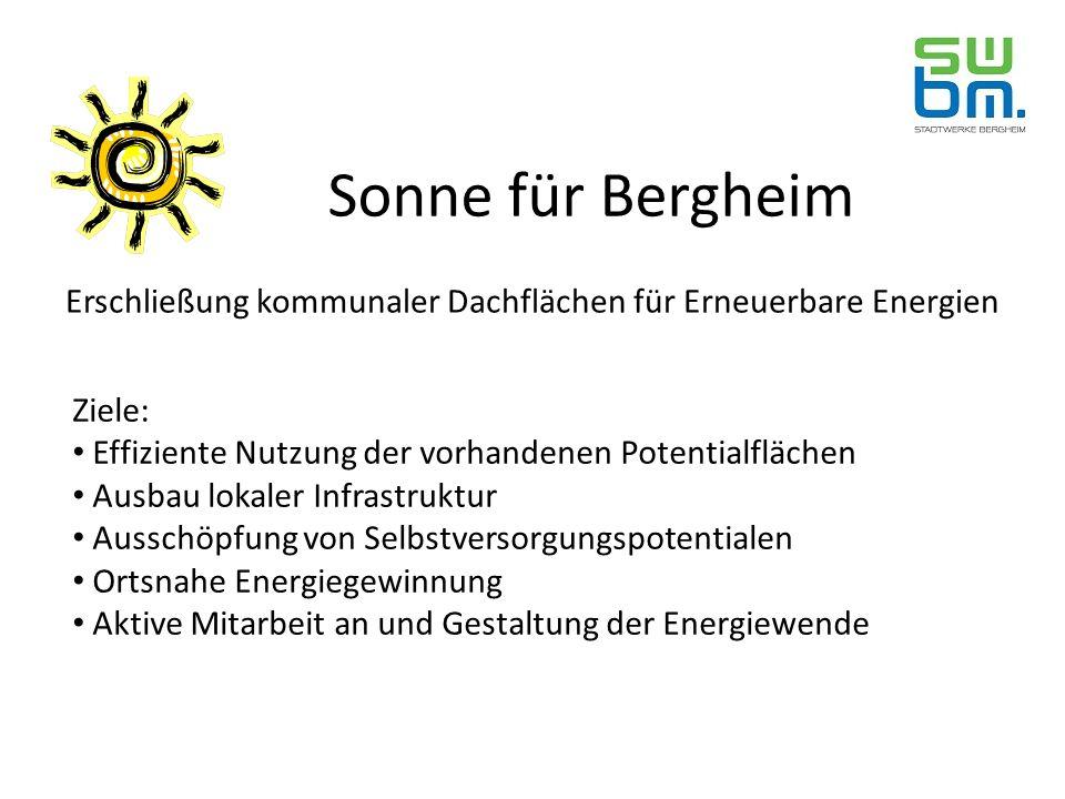 Sonne für Bergheim Erschließung kommunaler Dachflächen für Erneuerbare Energien Ziele: Effiziente Nutzung der vorhandenen Potentialflächen Ausbau lokaler Infrastruktur Ausschöpfung von Selbstversorgungspotentialen Ortsnahe Energiegewinnung Aktive Mitarbeit an und Gestaltung der Energiewende