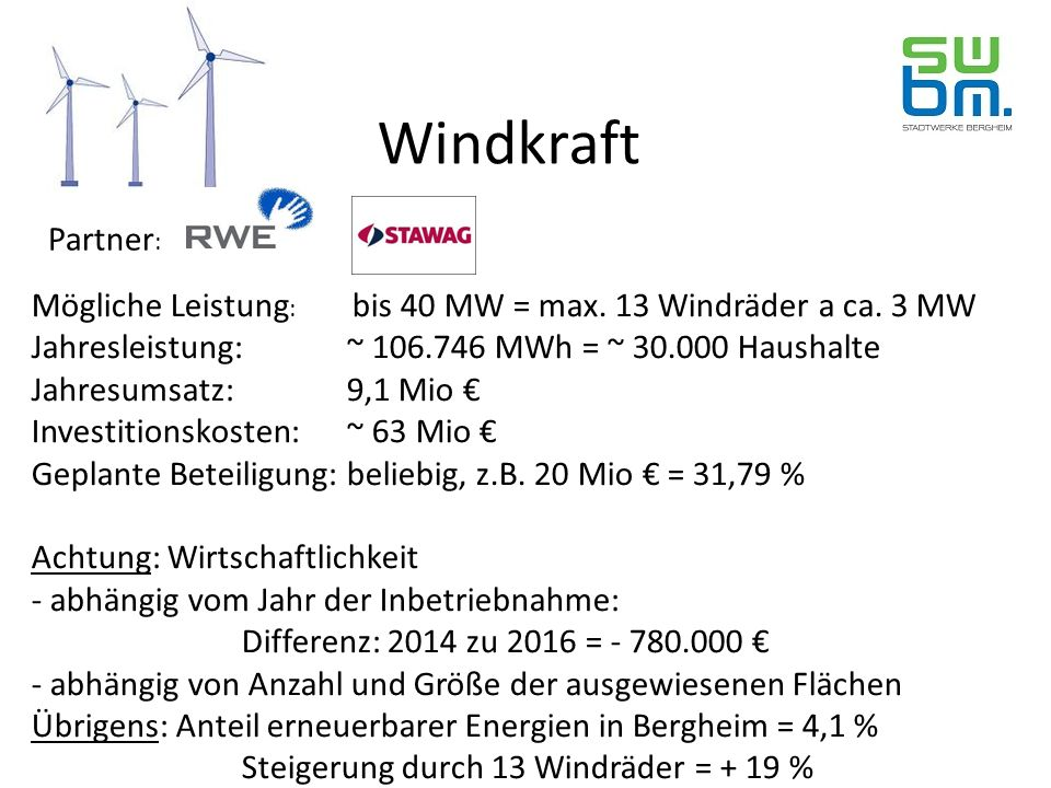 Windpark I Bergheim Windpark II Bergheim Solarpark Bergheim PV- Anlagen auf städtischen Dächern Energie- garten Bürgerbeteiligung