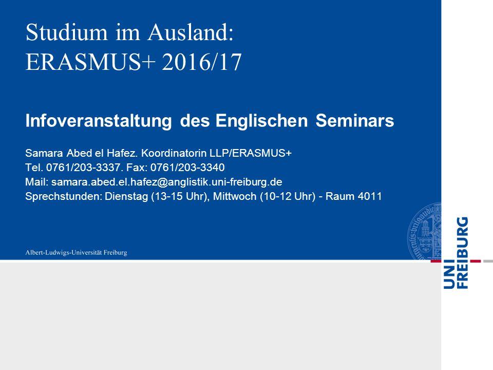 Studium im Ausland: ERASMUS+ 2016/17 Infoveranstaltung des Englischen Seminars Samara Abed el Hafez.