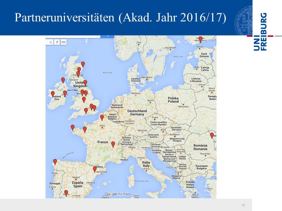 10 Partneruniversitäten (Akad. Jahr 2016/17)