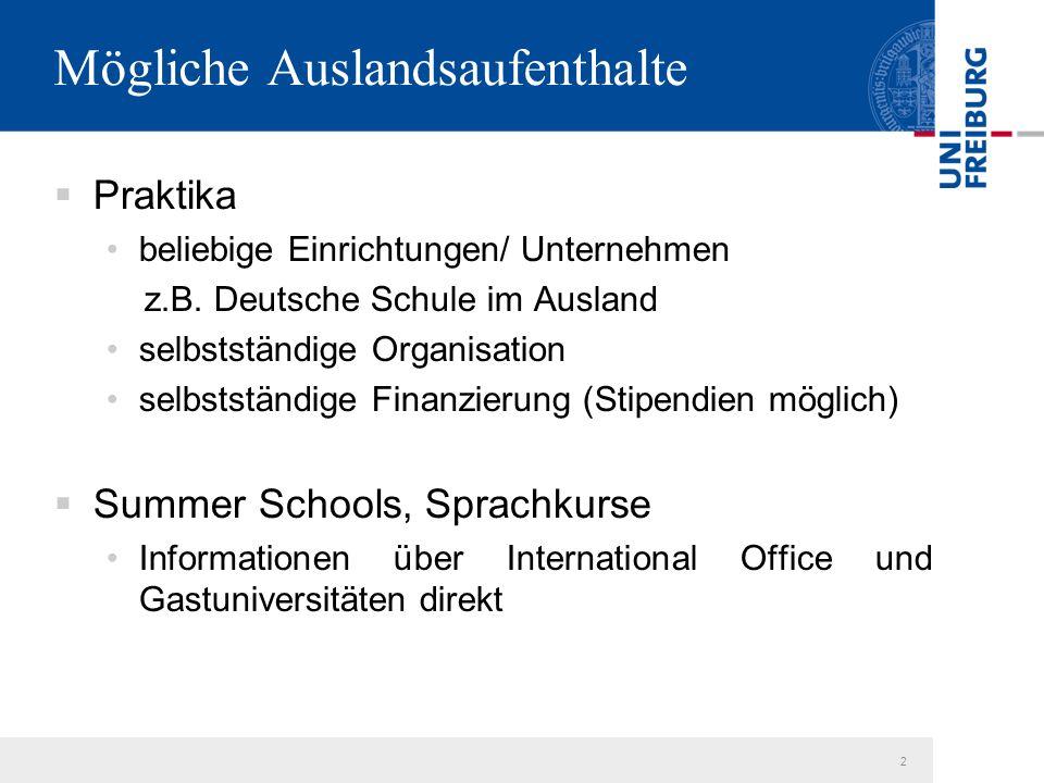 2 Mögliche Auslandsaufenthalte  Praktika beliebige Einrichtungen/ Unternehmen z.B.