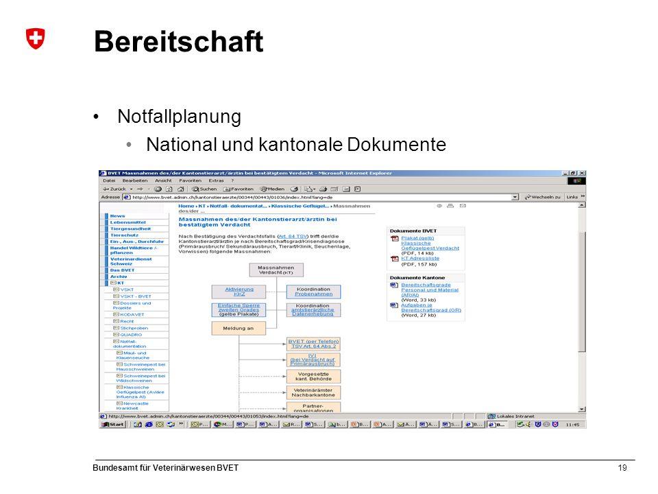 19 Bundesamt für Veterinärwesen BVET Bereitschaft Notfallplanung National und kantonale Dokumente