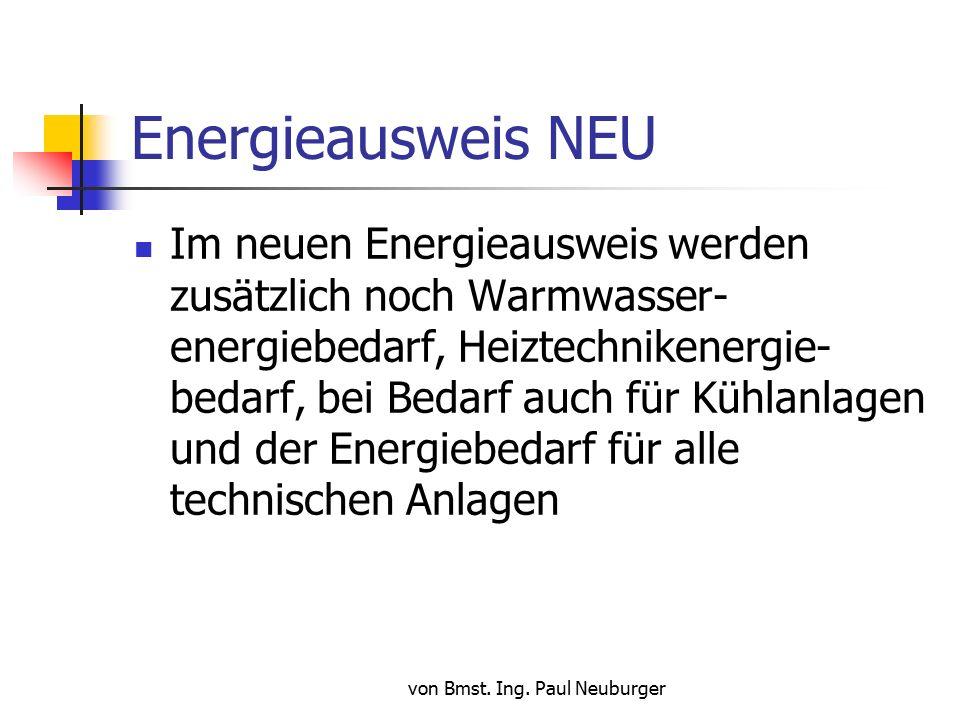 von Bmst. Ing. Paul Neuburger Energieausweis NEU Neuer Energieausweis