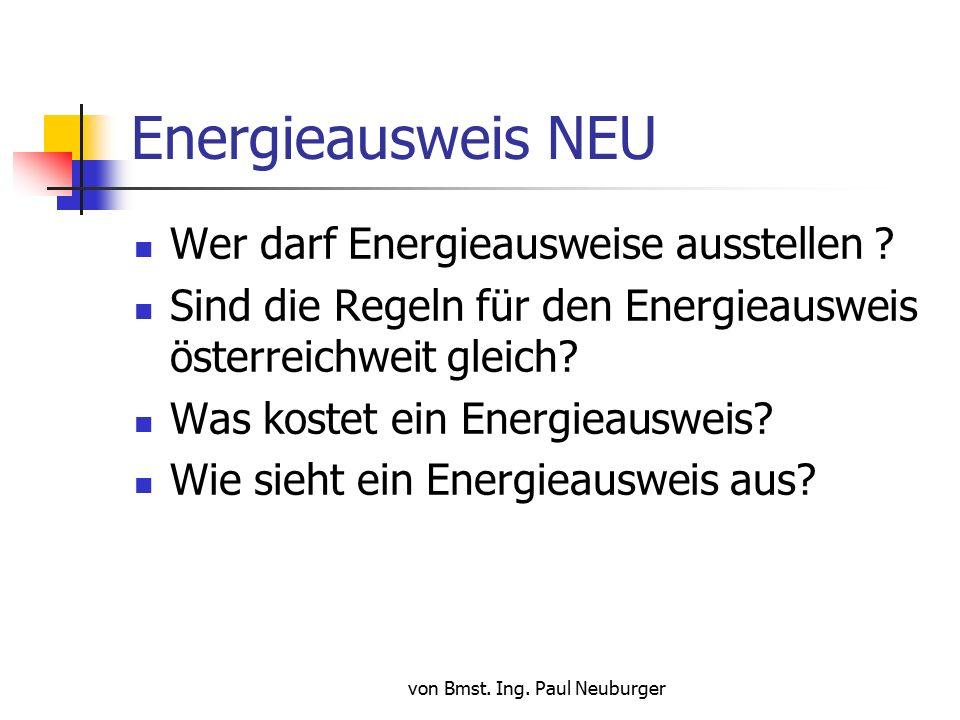 von Bmst. Ing. Paul Neuburger Energieausweis NEU Wer darf Energieausweise ausstellen .