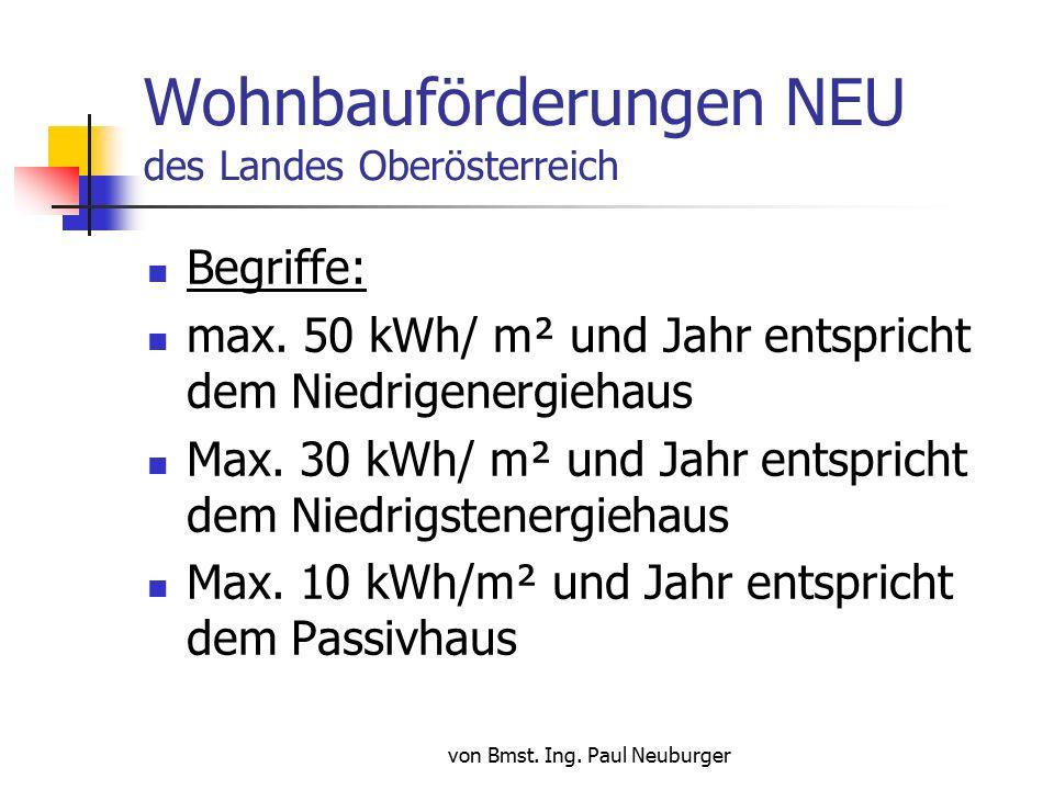 von Bmst. Ing. Paul Neuburger Wohnbauförderungen NEU des Landes Oberösterreich Begriffe: max.