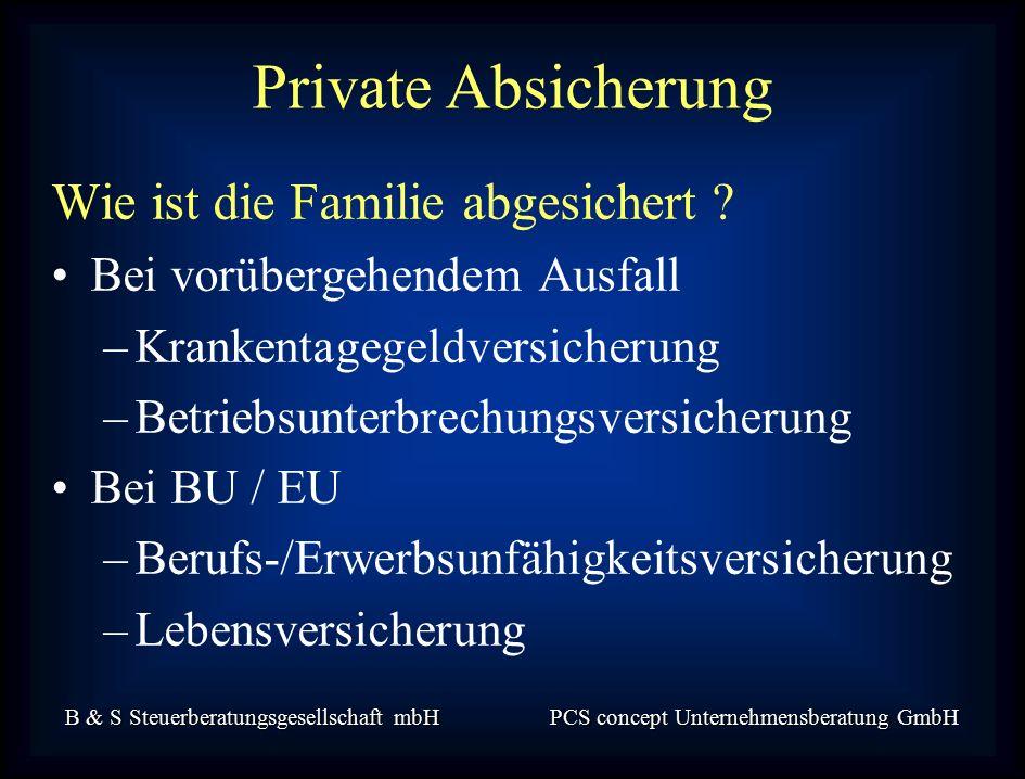 B & S Steuerberatungsgesellschaft mbH PCS concept Unternehmensberatung GmbH Wie ist die Familie abgesichert .