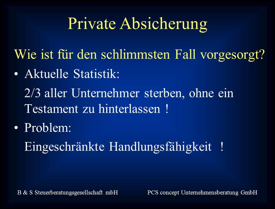 B & S Steuerberatungsgesellschaft mbH PCS concept Unternehmensberatung GmbH Wie ist für den schlimmsten Fall vorgesorgt.