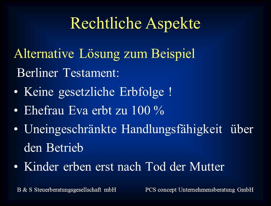 B & S Steuerberatungsgesellschaft mbH PCS concept Unternehmensberatung GmbH Alternative Lösung zum Beispiel Berliner Testament: Keine gesetzliche Erbfolge .