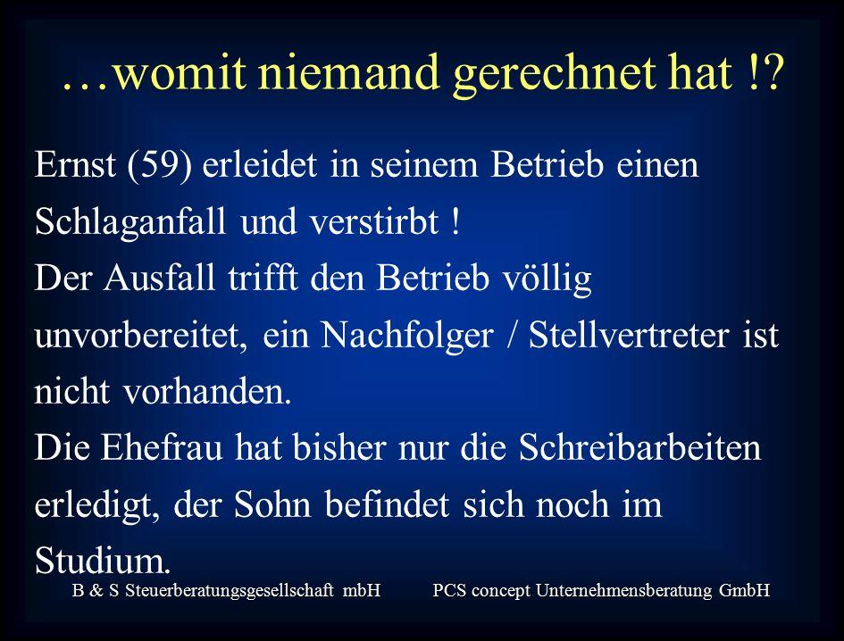 B & S Steuerberatungsgesellschaft mbH PCS concept Unternehmensberatung GmbH …womit niemand gerechnet hat !.