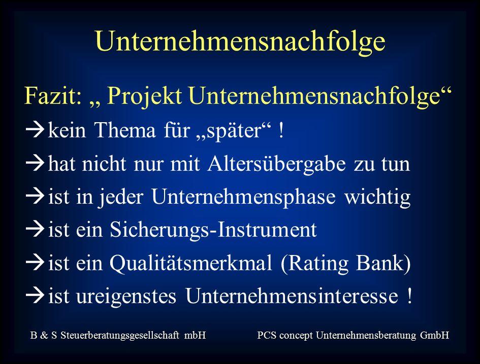 """B & S Steuerberatungsgesellschaft mbH PCS concept Unternehmensberatung GmbH Fazit: """" Projekt Unternehmensnachfolge  kein Thema für """"später ."""