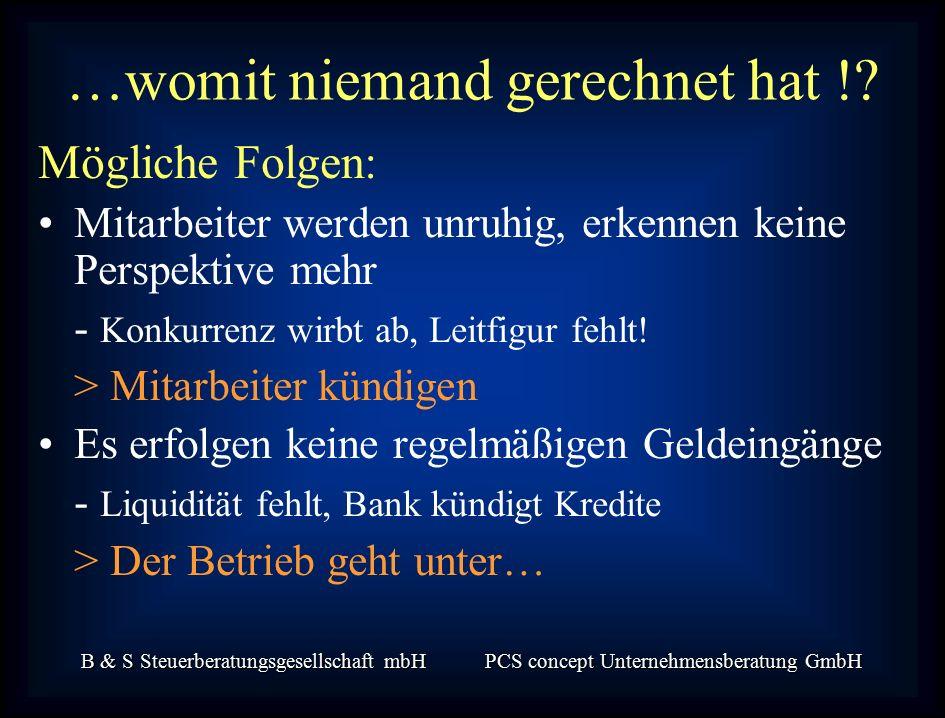 B & S Steuerberatungsgesellschaft mbH PCS concept Unternehmensberatung GmbH Mögliche Folgen: Mitarbeiter werden unruhig, erkennen keine Perspektive mehr - Konkurrenz wirbt ab, Leitfigur fehlt.