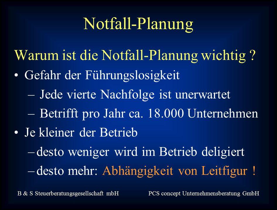 B & S Steuerberatungsgesellschaft mbH PCS concept Unternehmensberatung GmbH Warum ist die Notfall-Planung wichtig .