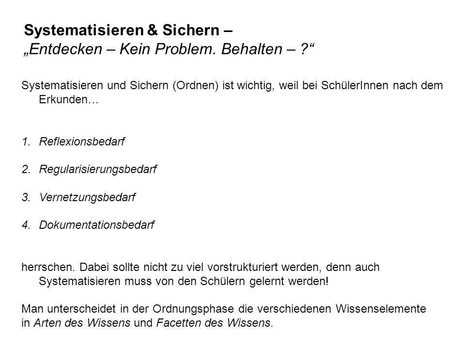 """Systematisieren & Sichern – """"Entdecken – Kein Problem."""