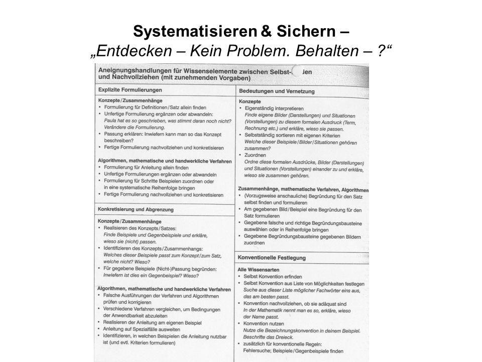 """Systematisieren & Sichern – """"Entdecken – Kein Problem. Behalten –"""