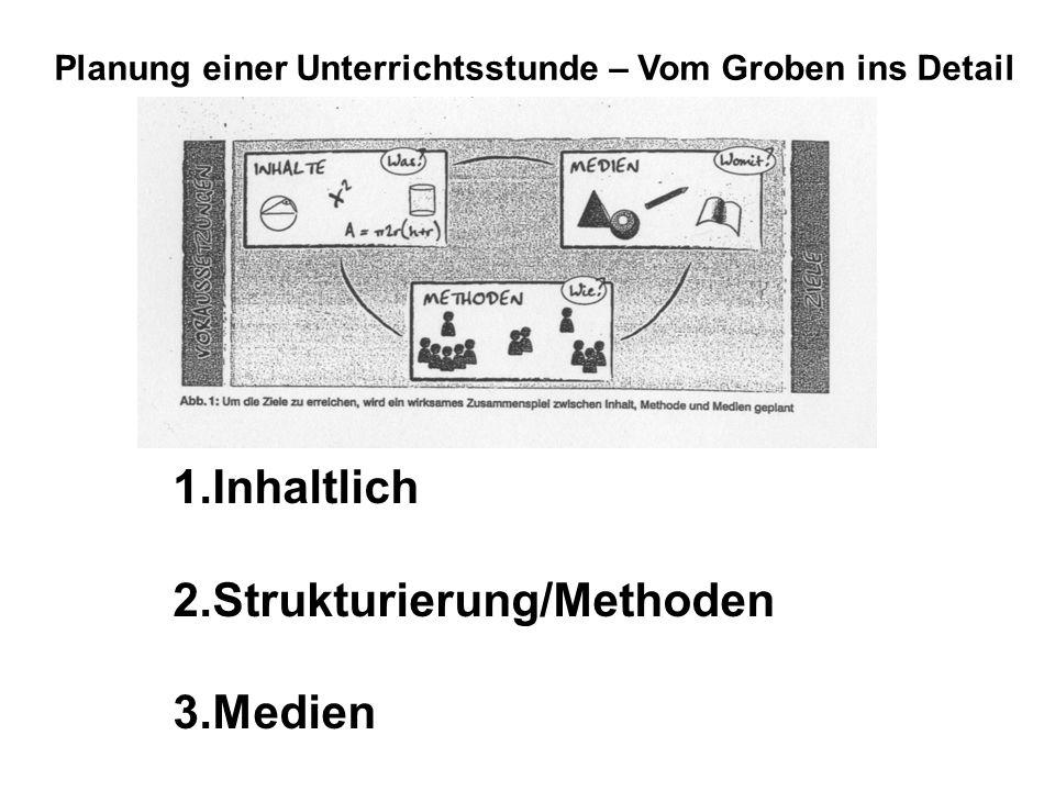 Planung einer Unterrichtsstunde – Vom Groben ins Detail 1.Inhaltlich 2.Strukturierung/Methoden 3.Medien