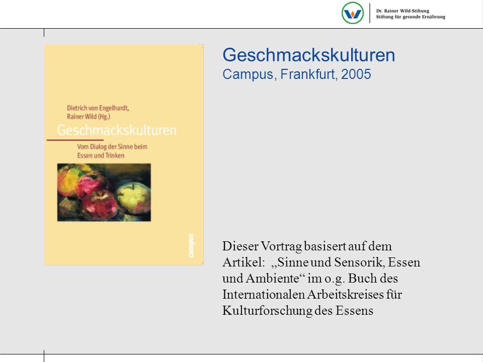 """Dieser Vortrag basisert auf dem Artikel: """"Sinne und Sensorik, Essen und Ambiente"""" im o.g. Buch des Internationalen Arbeitskreises für Kulturforschung"""